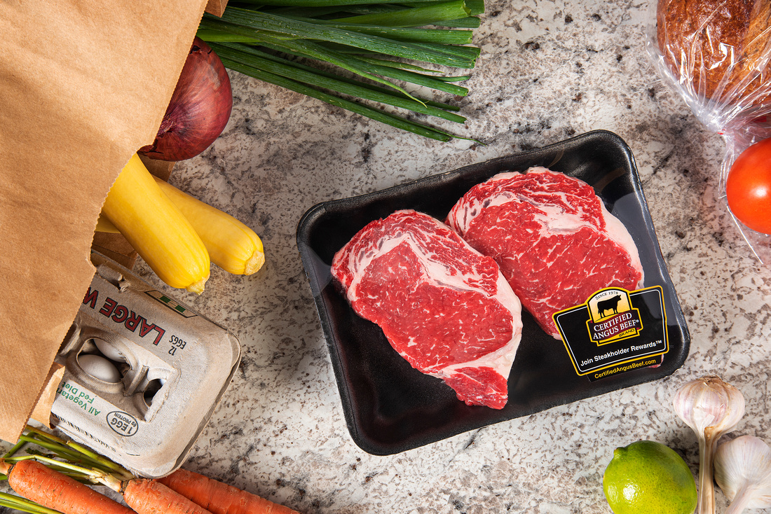 retail beef package and groceries
