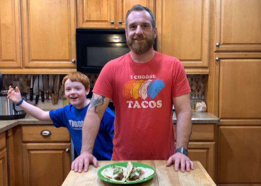 Chef Gavin Pinto and his son